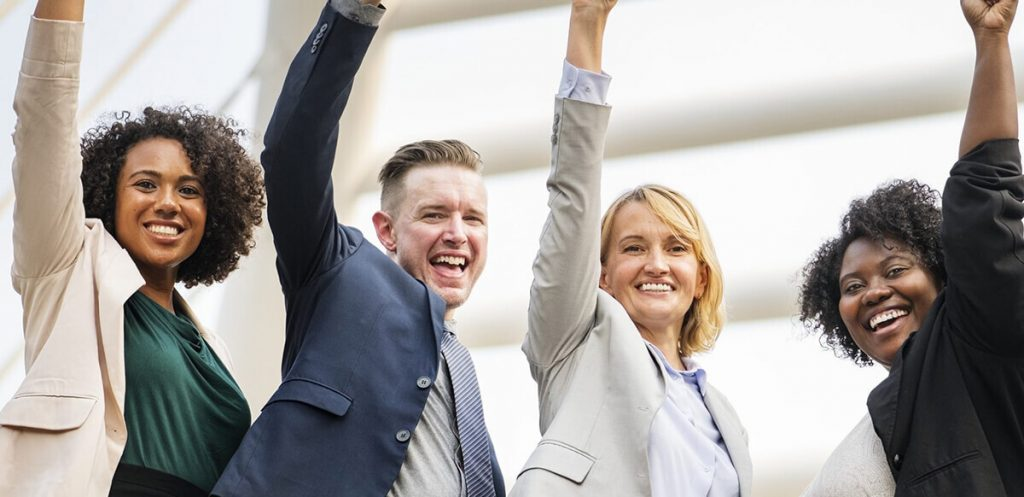 Employees with healthy wellbeing at work