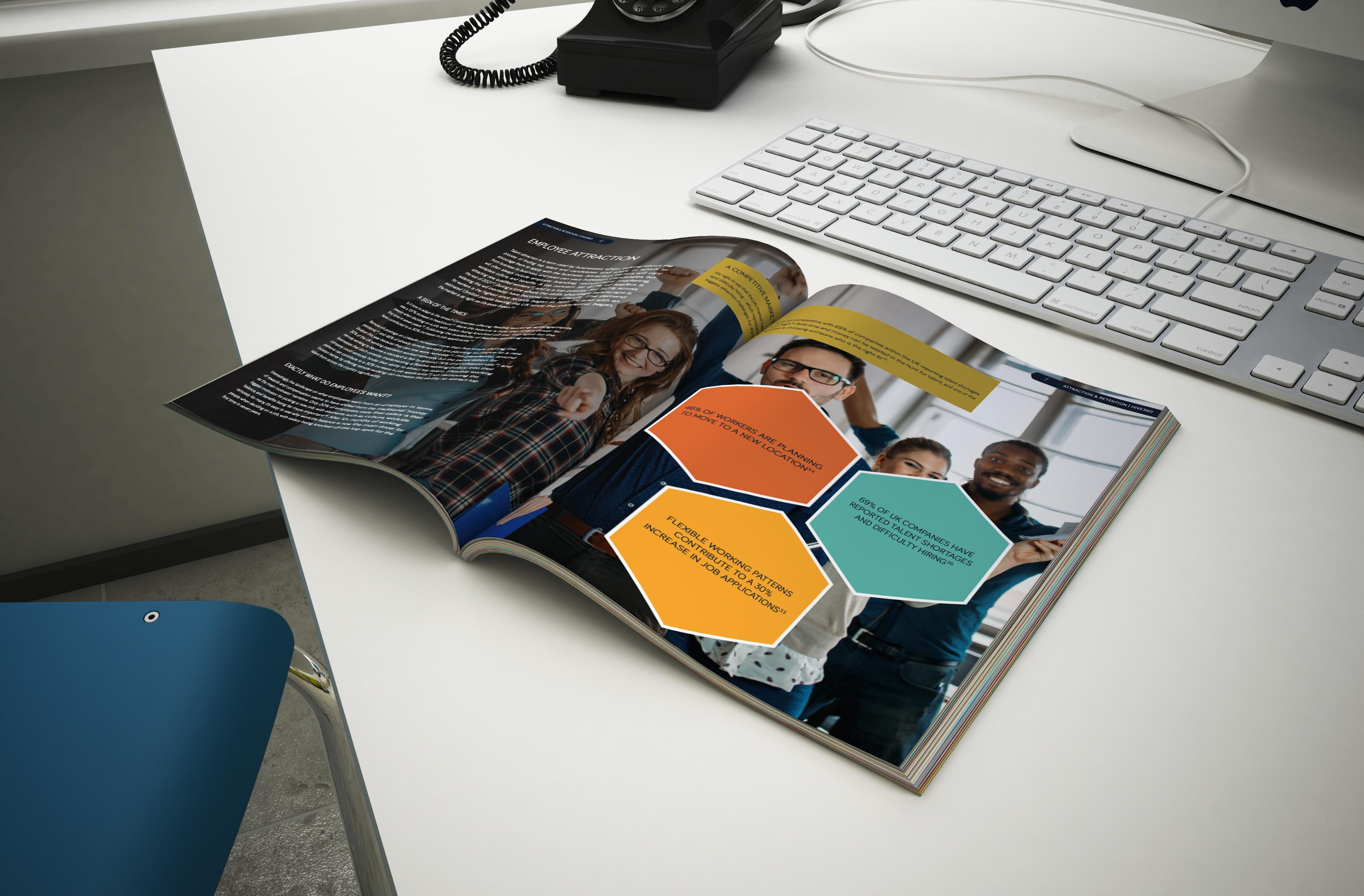 attract,. retain & engage e-book on desk